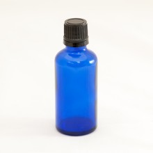 Bottle 50 ml Glass Cobalt Blue with Black Cap - Tamper Evident Seal Dropper Insert