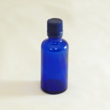 Bottle 50 ml Glass Cobalt Blue with Blue Cap - Tamper Evident Seal Dropper Insert