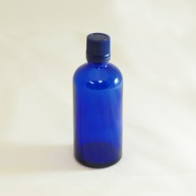 Bottle 100 ml Glass Cobalt blue with Blue Cap - Tamper Evident Seal Dropper Insert